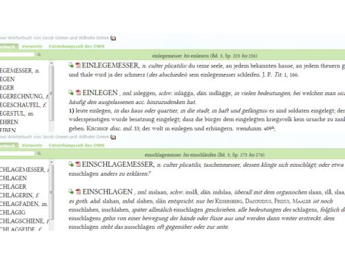 Aus dem Wörterbuch der Brüder Grimm: Einlegemesser, Einschlagemesser
